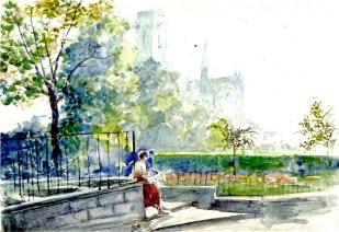 Pari_ Nhìn về Notre - Dame ( thuốc nước) 1994(1)